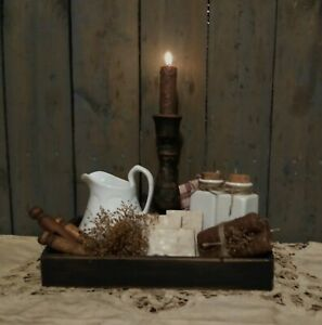 Primitive Bath Room Gathering Tray Pitcher Soap Towels Bottles Pins Candles