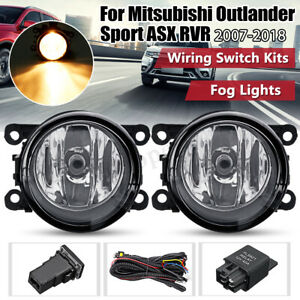 2x For Mitsubishi Outlander Sport Rvr Asx Front Fog Light Lamps Switch Wire Kit