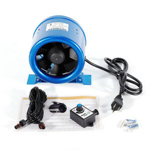 6 350cfm Inline Duct Fan Exhaust Blower Ventilation W speed Controller Blue New