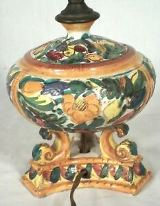 Vintage Early 20th Century Italian Majolica Multi Color Pottery Lamp