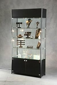 Lighted Tower Display Case 39 5 W X 13 75 D X 78 H With Three Adjustable Shelves