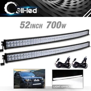 2x 52inch 700w Led Light Bar Curved Combo Harness For Jeep Wrangler Jk Yj Tj