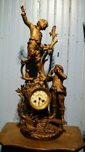 19thc Antique French Japy Freres Figural Mantle Clock