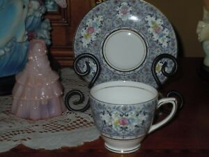 Rosina Tea Cup And Saucer Grey Multi Color Floral Bone China Made In England S1