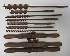 Lot Of Barn Post Beam Bores Drills Augers Wooden Handles Farm Vintage