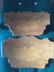 2 Wood Architectural Salvage Carved Pediments Oak Press Back Chair 17 Parts