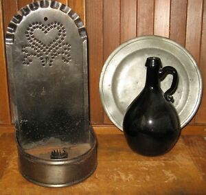 Primitive Punched Tin Candle Wall Sconce Heart Design