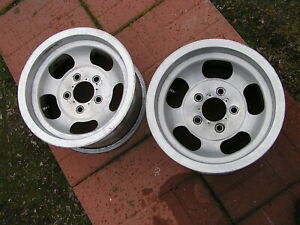 Pair Aluminum Us Indy Mag Slotted Mag Wheels 14 X 7 Chevy Car Pattern 5 X 4 3 4