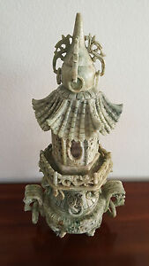 Unique Jade Censer Celadon 3 Piece Temple Carved Lrg 21 Tall Incense Burner