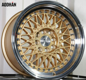 Aodhan Ah05 15x8 4x100 114 3 Et20 Gold Rims Fits Carrado Del So Civic