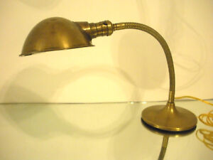 Vintage Antique Industrial Bryant Gooseneck Desk Lamp Brass