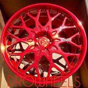 20 Forgiato Torino M Laser Brushed Red Forged Staggered Rims For Nissan Gtr New