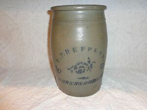 Antique Cobalt Blue Letter Stenciled Decorated Stoneware Pottery Crock Pa J