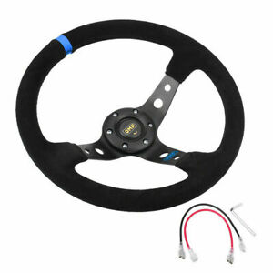 35cm Deep Dish 6 Bolt Jdm Sport Racing Steering Wheel Suede Leather Horn Button
