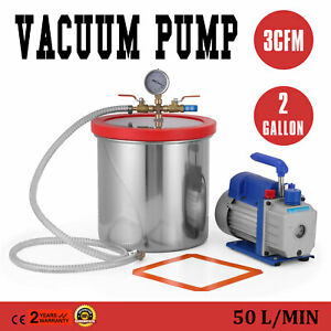 2 Gallon Vacuum Pump Chamber And 3 Cfm 0 64cm Sae Chamber 7 6l Alloy Housing