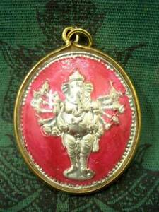 Coin Lord Ganesh God Pendant Hindu Magic Talisman Om Success Lucky Thai Amulet