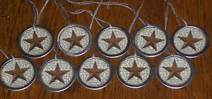 10 Primitive Rustic Rusty Star Metal Rim Hang Tags Gift Ties Ornies Scrapbooking