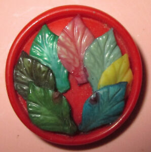 Vintage Marion Weeber Celluloid Button W Colorful Applied Leaves Set In Red 1
