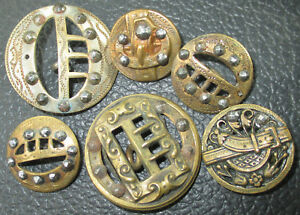 Lot 6 Antique Victorian Pierced Openwork Metal Belt Buckle Picture Buttons