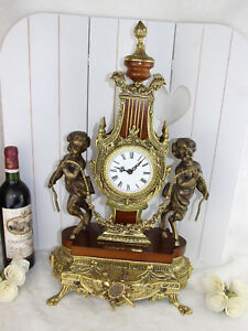 Xl Heavy French Putti Faun Brass Wood Clock Louis Xvi 1960 S