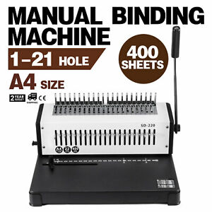 Steel Comb Coil Binding Machine A4 21 Holes Paper Puncher Simple To Handle