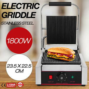 Commercial Electric Contact Press Grill Griddle 1800w Stainless Steel Bbq 110v