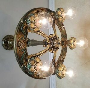 489 Vintage Art Nouveau Shade Ceiling Light Lamp Fixture Chandelier Antique