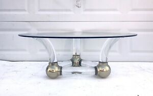 Vintage Modern Lucite And Brass Coffee Table