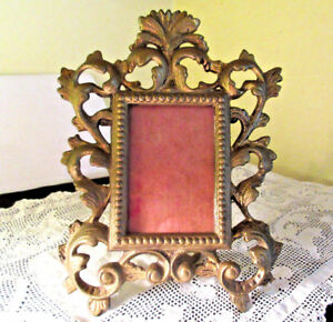 Vintage Gold Gilt Metal Ornate Rococo Style Standing Picture Frame 7 1 2