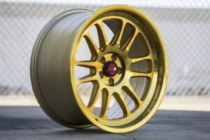 Aodhan Ah07 18x8 5 35 X114 3 Gold Machined Face Set Of 4