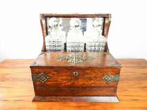 Antique Victorian English Oak Tantalus Tabletop Cigarette Box Secret Drawer 1880