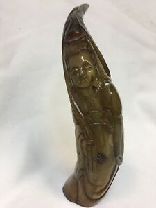 Hand Carved Quan Yin Horn Figurine 8