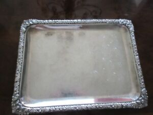 Antique Large Sheffield Silver Plate Rectangular Tray