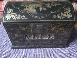 Antique Chinese Carved Black Wood Jewelry Lacquer Box Dome Top Chest Cabinet