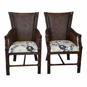 Bamboo Rattan Tommy Bahama Style Armchairs Pair