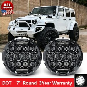 7 Round Led Headlights For Jeep Wrangler Custom Unlimited Sport Jk Jl Tj Lj Cj