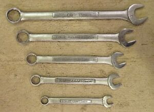 Set Of 5 Craftsman vv Series Sae 12 Point Combination Wrenches 9 16 1