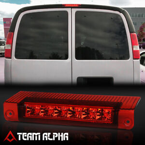 Fits 2003 2017 Chevy Express savana chrome red Led Third 3rd Brake Light Lamp