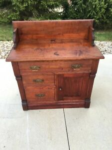 Antique Early Victorian Eastlake Washstand Dresser 1880 S