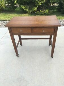The Baldwin Company Antique Solid Wood Writing Desk Table 2 Drawers Glass Knobs
