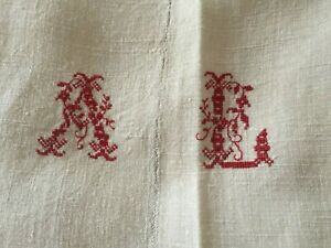 Vintage French Pure Linen Hemp Sheet Embroidery A L Fab Quality 3mx1m80 C1910