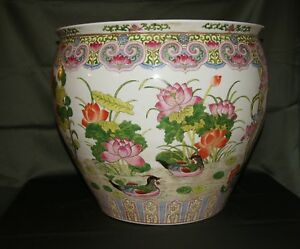 Absolutely Gorgeous Chinese Planter Fish Bowl 20 Diameter Signed Qianlong