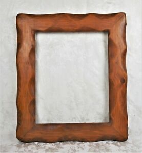 Vintage Mid Century Primitive Rustic Wood Carved Picture Frame Fits 20x16