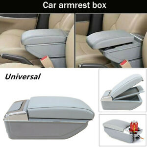 1x Universal Pu 7usb Rechargeable Car Central Container Armrest Storage W Light