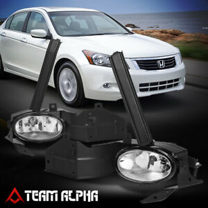 Fits 2008 2010 Honda Accord 2dr Clear Bumper Fog Light Lamp W Switch Harness