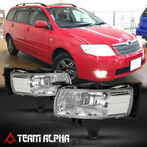 Fits 2002 2005 Toyota Corolla Fielder Clear Bumper Fog Light W Switch Harness