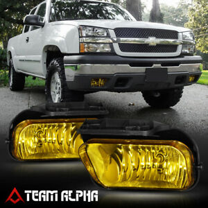 Fits 03 06 Chevy Silverado Golden Yellow Fog Light Bumper Lamps W Switch Harness