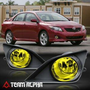 Fits 2009 2010 Toyota Corolla Yellow Bumper Fog Light Lamp W Switch Wire Bezel