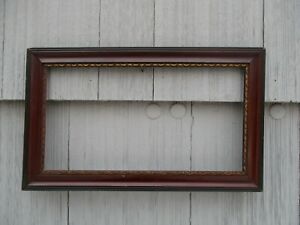 Nice Long Antique Faux Painted Wood Picture Frame Fits 8 X 15