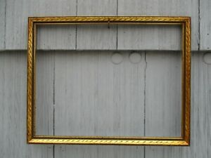 Nice Vintage Gilt Wood Picture Frame With Glass Fits 11 1 2 X 14 3 4